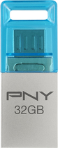 PNY - Duo-Link Metal OTG 32GB USB 2.0 Flash Drive - Steel Gray/Blue
