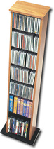 Ashlin - Slim Multimedia Storage Tower - Oak/Black