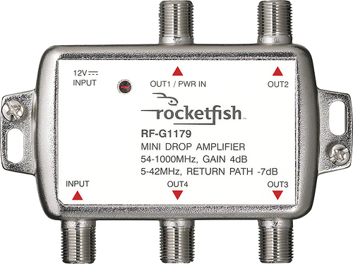 Rocketfish™ - Bidirectional Mini Drop Amplifier - Silver