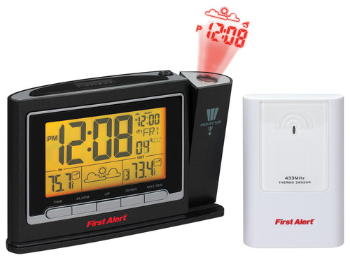 First Alert - Radio-Controlled Weather Station Projection Clock - Black