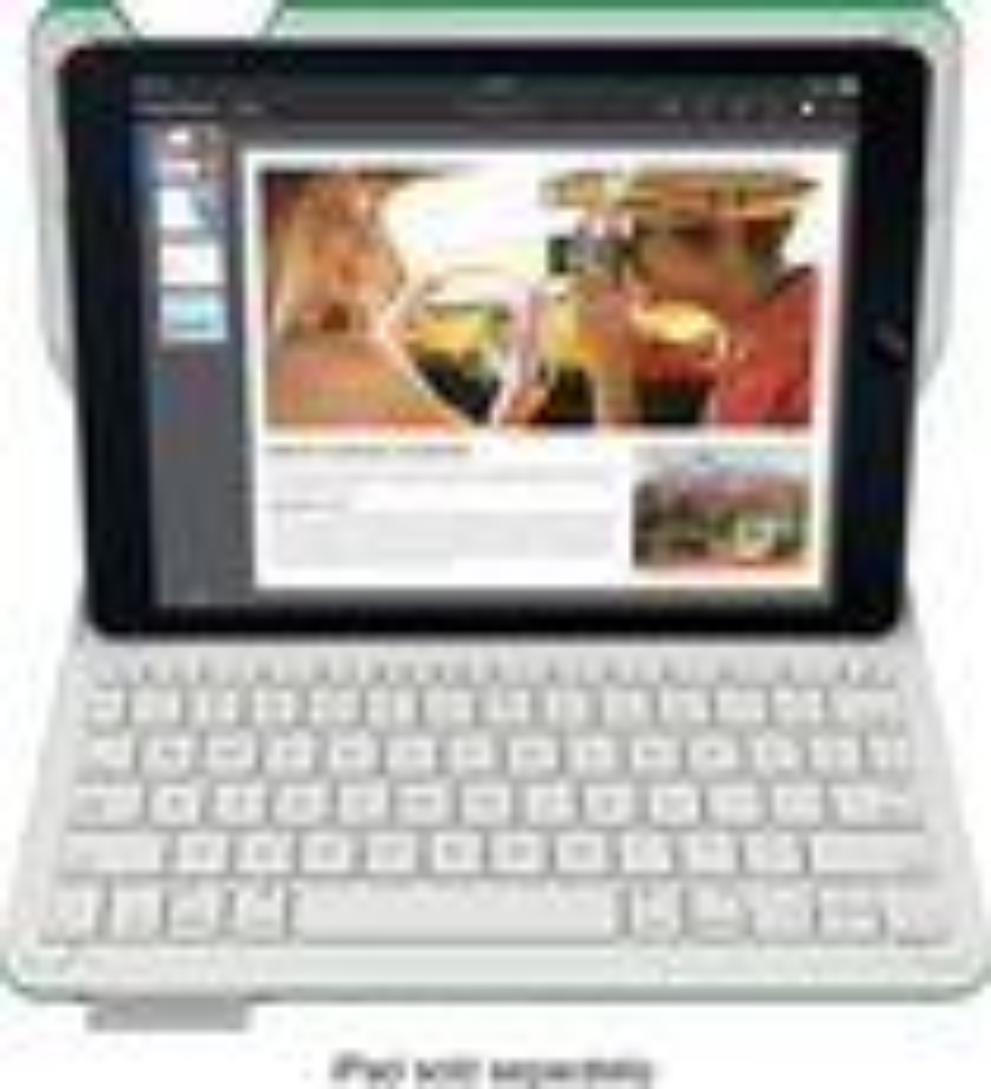 Logitech - Type+ Bluetooth Keyboard Case for Apple® iPad® Air 2 - Bright Green