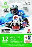 Microsoft - Xbox Live 12-Month Gold Membership Card - Madden NFL 25
