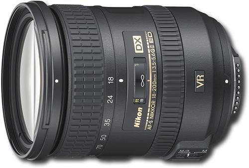 Nikon - AF-S DX NIKKOR 18-200mm f/3.5-5.6G ED VR II Standard Zoom Lens - Black