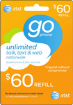 AT&T GoPhone - $60 Prepaid Wireless Airtime Card