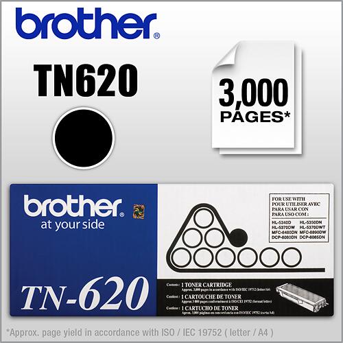 Brother - Toner Cartridge TN620 Toner, 3000 Page-Yield - Black