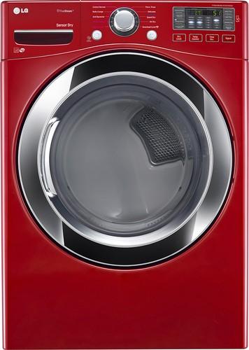 LG - SteamDryer 7.4 Cu. Ft. 10-Cycle Steam Gas Dryer - Cherry Red