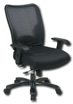 Office Star Furniture - Ergonomic Chair with Double Air Grid Back and Mesh Seat - Black