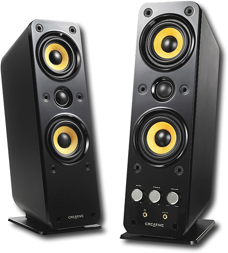 Creative - GigaWorks T40 Series II 2.0 Speaker System (2-Piece) - Black/Yellow