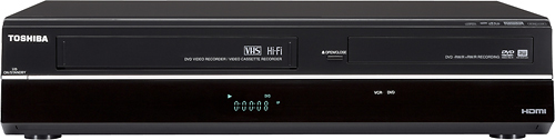 Toshiba - Multiformat DVD-R/RW/+R/+RW Recorder/VCR Combo with HD Upconversion - Black