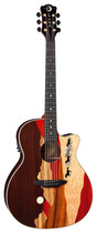 Luna - Vista Mustang A/E 6-String Full-Size Grand Auditorium Guitar - Multicolor