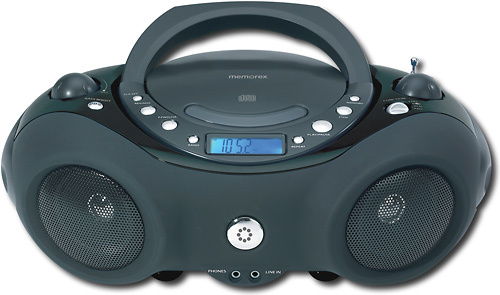 Memorex - Portable CD/CD-R/RW Boombox with AM/FM Radio - Black