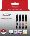 Canon - 251 4-Pack Ink Cartridges - Photo Black/Cyan/Magenta/Yellow