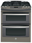 "GE - Profile Series 30"" Self-Cleaning Slide-In Double Oven Gas Convection Range - Slate"