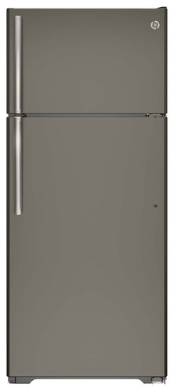 GE - 17.5 Cu. Ft. Frost-Free Top-Freezer Refrigerator - Slate