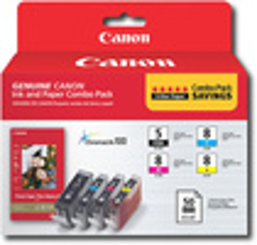 Canon - 5/8 4-Pack Ink Cartridges + Photo Paper - Black/Cyan/Magenta/Yellow