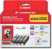 Canon - 220/221 4-Pack Ink Cartridges + Photo Paper - Black/Cyan/Magenta/Yellow