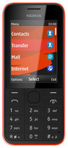 Nokia - 208 Cell Phone (Unlocked) - Red/Black