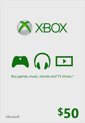 Microsoft - $50 Xbox Gift Card - White