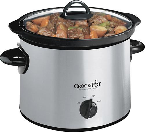 Crock Pot - 3 Qt. Slow Cooker - Stainless/Black