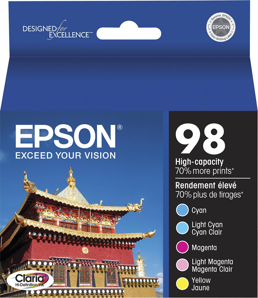 Epson - 98 5-Pack High-Yield Ink Cartridges - Cyan/Magenta/Yellow/Light Cyan/Light Magenta