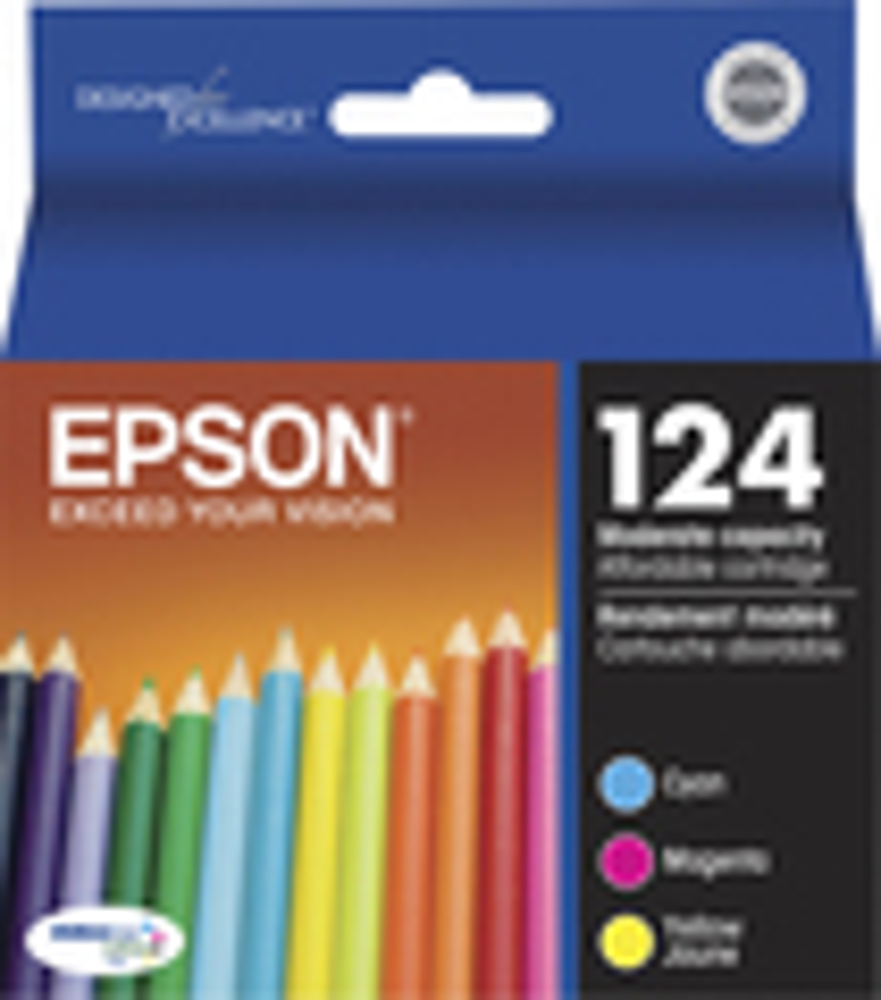 Epson - DURABrite124 3-Pack Ink Cartridges - Cyan, Magenta, Yellow