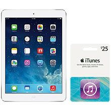 16GB Silver iPad® Air and $25 iTunes Gift Card Package