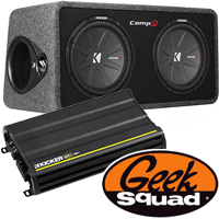 Kicker CX1200W Amplifier with Low-Pass Crossover, 12'' 2-Ohm Subwoofers, Geek Squad® Installation