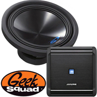 Alpine 500W Mono Amplifier with Low-Pass Crossover, 12'' 4-Ohm Subwoofer, Geek Squad® Installation