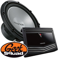 Kenwood 1000W Amplifier with Low-Pass Crossover, 12'' Single-Voice-Coil 4-Ohm Subwoofer, Geek Squad® Installation
