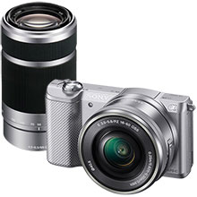 Sony a5000 20.1MP Compact System Camera with 16-50mm Lens - Silver & Extra 55-210mm Lens - Silver