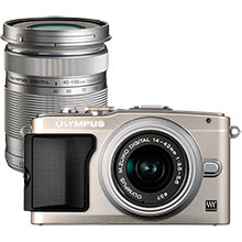 Olympus PEN E-PL5 16.1MP Compact System Camera with 14-42mm Lens - Silver & Extra 40-150mm Lens