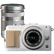 Olympus PEN E-PL5 16.1MP Compact System Camera with 14-42mm Lens - White & Extra 40-150mm Lens - Silver