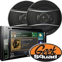 Pioneer DV/HD/Satellite-Ready In-Dash Receiver, 3-Way Car Speaker & Geek Squad® Installation
