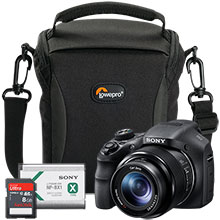Sony DSC-HX300 20.4MP Camera, Bag, Battery & 8GB Memory Card