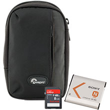 Accessory Package for Sony DSC-W830 Camera including Bag, Battery Pack & 8GB Memory Card