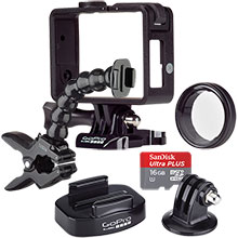 Accessory Package for GoPro Camera with Frame Mount, Tripod Mount, Jaws Clamp Mount & 16GB Memory Card