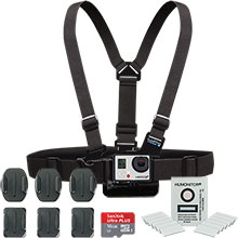 GoPro Ski/Snowboard Accessory Package with Chest Mount Harness, Antifog Inserts, Flat/Curved Mounts & 16GB Memory Card