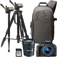 "Canon EOS Rebel SL1 18.0MP DSLR Camera, 18-55mm Lens,17-40mm Ultrawide Lens, 70"" Tripod, Sling Bag & 32GB Memory Card"