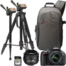 "Nikon D5200 24.1MP DSLR Camera with 18-55mm Lens, Extra 35mm Lens, 70"" Tripod/Monopod, Sling Bag & 32GB Memory Card"