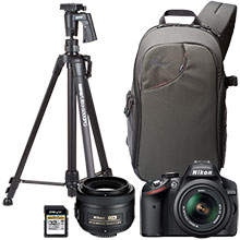 "Nikon D3200 24.2MP DSLR Camera with 18-55mm Lens, Extra 35mm Lens, 61"" Tripod, Bag & 32GB Memory Card"