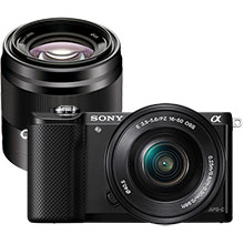 Sony Alpha a5000 20.1MP Compact System Camera with 16-50mm Retractable Lens - Black & Extra 50mm Prime Lens