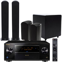Pioneer Elite SC-87 Receiver, Bookshelf Speakers (2), Floor Speakers (2), Center-Channel Speaker & Subwoofer
