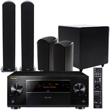 Pioneer Elite SC-89 Receiver, Bookshelf Speakers (2), Floor Speakers (2), Center-Channel Speaker & Subwoofer