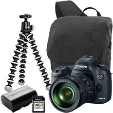 Canon EOS 5D Mark III 22.3MP DSLR Camera with 24-105mm Lens, Joby Gorillapod Tripod, Case, Battery & 32GB Memory Card
