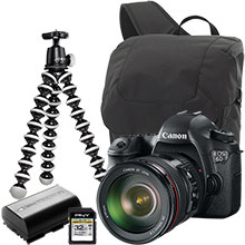 Canon EOS 6D DSLR Camera with 24-105mm Lens, Joby Gorillapod Tripod, Case, Battery & 32GB Memory Card