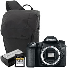 Canon EOS 70D 20.2MP DSLR Camera (Body Only); Sling Bag, Battery & 32GB Memory Car