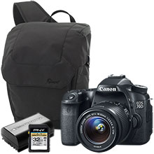 Canon EOS 70D 20.2MP Digital SLR Camera with 18-55mm Lens, Sling Bag, Battery & 32GB Memory Card