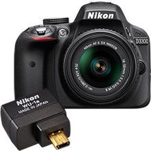 Nikon D3300 24.2MP DSLR Camera with 18-55mm Lens & WU-1A Wireless Mobile Adapter