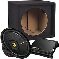 "Kicker CompS 12"" Single-Voice-Coil 4-Ohm Subwoofer, DX Series 250W Mono Amplifier & Metra 12"" Single Ported Subwoofer"