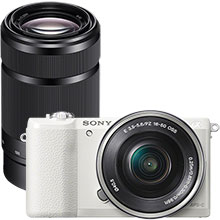 Sony Alpha a5100 24.3MP Compact System Camera with 16-50mm Retractable Lens - White & Extra 55-210mm Lens